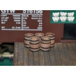 H027 wood barrels grouping of five 8 pcs