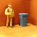 O024 Recycle Trash Bin On Weels 6pcs O Scale